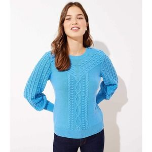 LOFT Blue Bobble Cable Knit Chunky Sweater